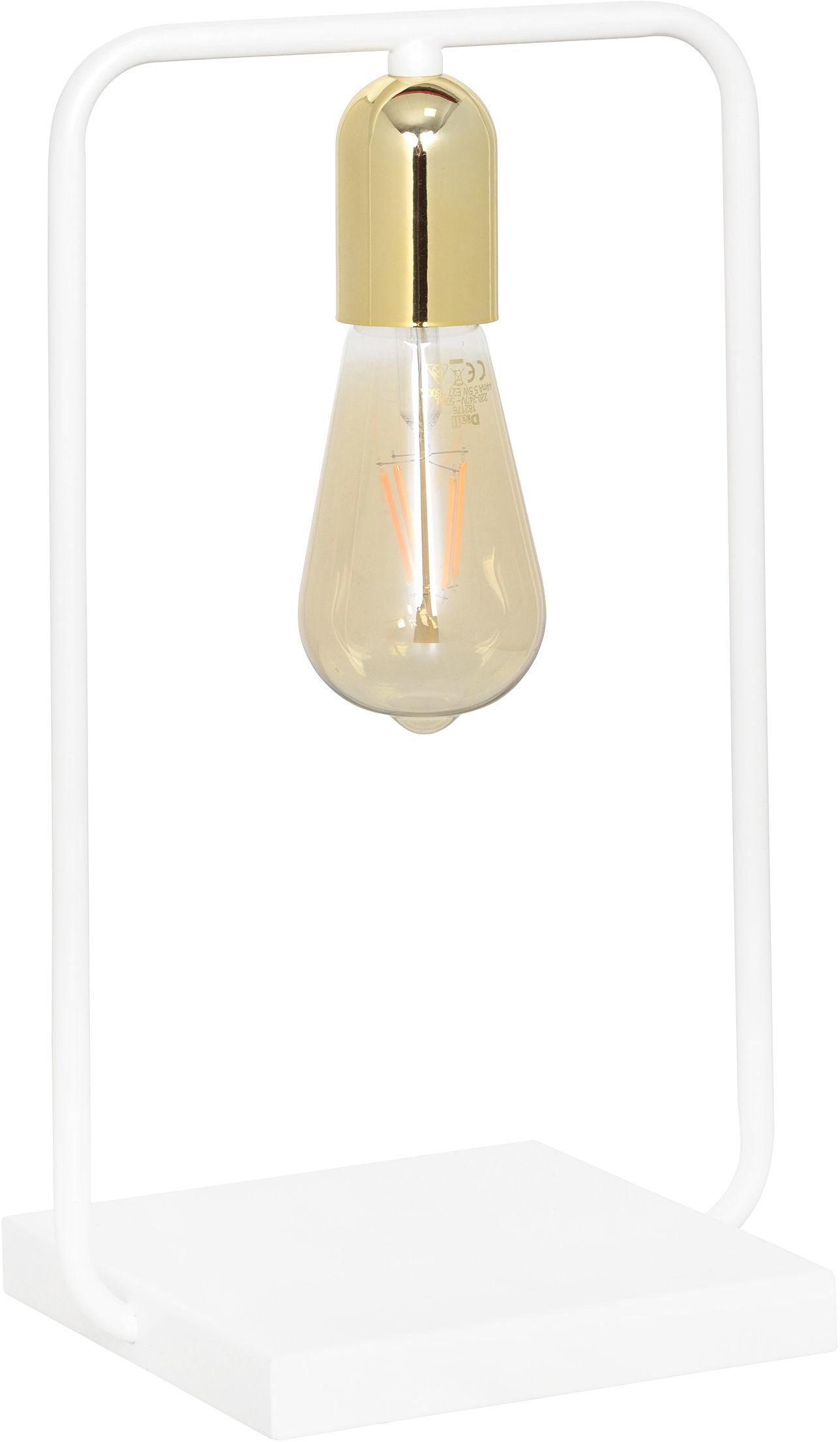 Emibig SAVO LN1 WHITE 354/LN1 lampa stołowa loftowa biało złota metal rama 1x60W E27 35cm