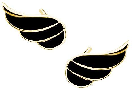 Delikatne pozłacane srebrne kolczyki skrzydła anioła czarna emalia srebro 925 Z1679EG_B