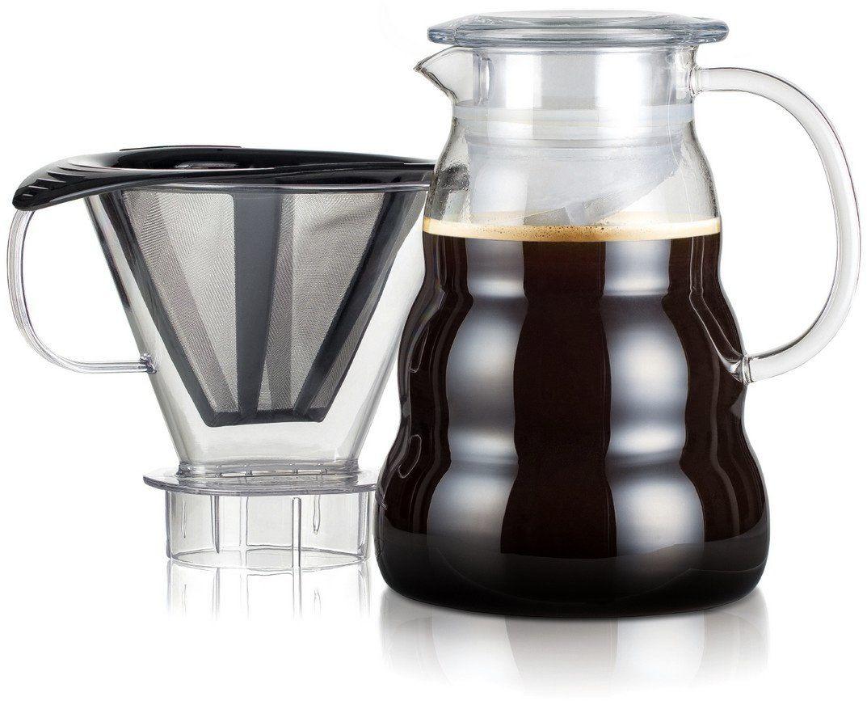 Bodum Melior ekspres do kawy z drobnymi oczkami ze stali nierdzewnej, 8 filiżanek, z uchwytem na filtr z Tritanu, szkło, przezroczysty, 15 cm