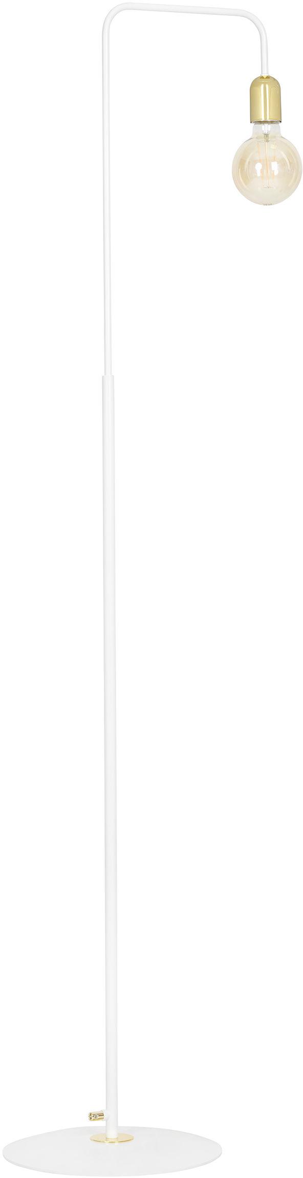 Emibig SAVO LP1 WHITE 354/LP1 lampa podłogowa loftowa biało złota metalowa 1x60W E27 150cm
