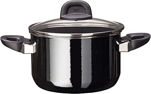 Silit Modesto Line garnek do gotowania, wysokość 20 cm, szklana pokrywka, garnek do mięsa 3,7 l, ceramika funkcyjna Silargan, indukcja garnka, czarny