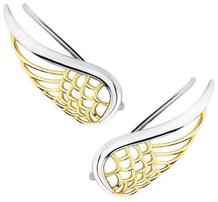 Eleganckie rodowane pozłacane srebrne kolczyki nausznice skrzydła anioła skrzydełka wings srebro 925 Z1711EGR