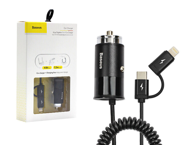 Ładowarka samochodowa Baseus Enjoy Together 4.8A z USB-C i kablem Lightning - czarny