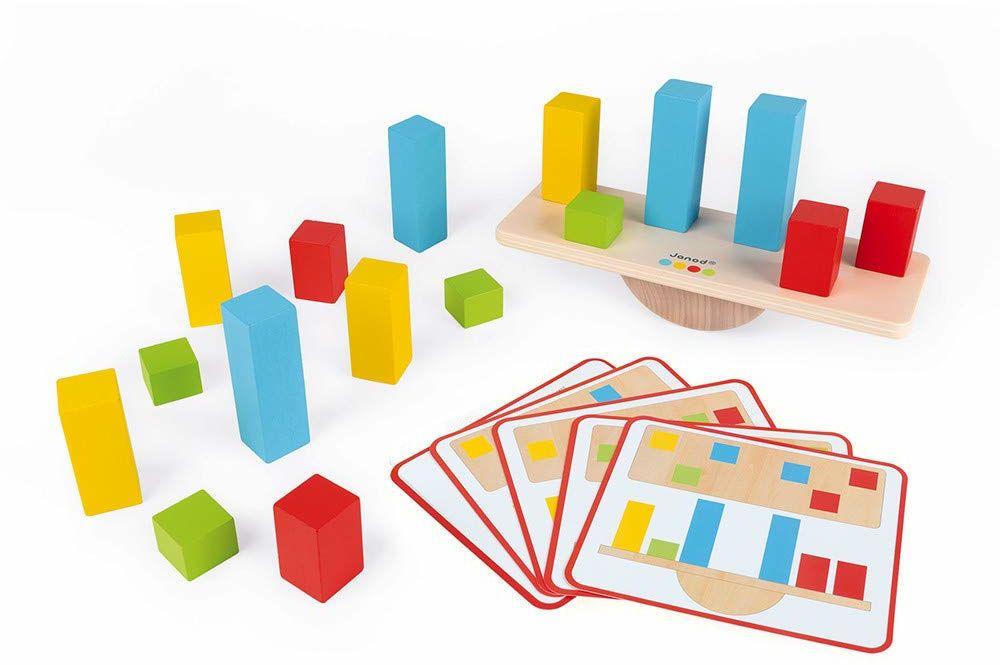 Janod - Niezbędny - Wagi - Drewniana wczesna nauka Gra edukacyjna - Uczy koncepcje równowagi - farba na bazie wody - Wiek 3 i więcej, J05063