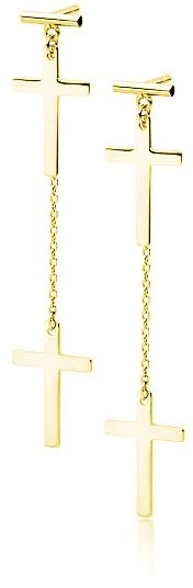 Delikatne wiszące pozłacane srebrne gładkie kolczyki celebrytka krzyżyk krzyż srebro 925 Z1722EG