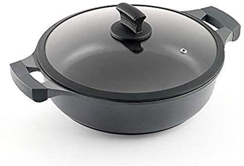 Metaltex XPERT niski garnek do gotowania z odlewu aluminiowego, 28 cm, powłoka zapobiegająca przywieraniu, 3-warstwowy, nadaje się do wszystkich rodzajów kuchenek, czarny