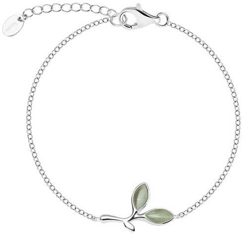 Staviori bransoleta gałązka oliwna 19cm. szkło. srebro 0,925.