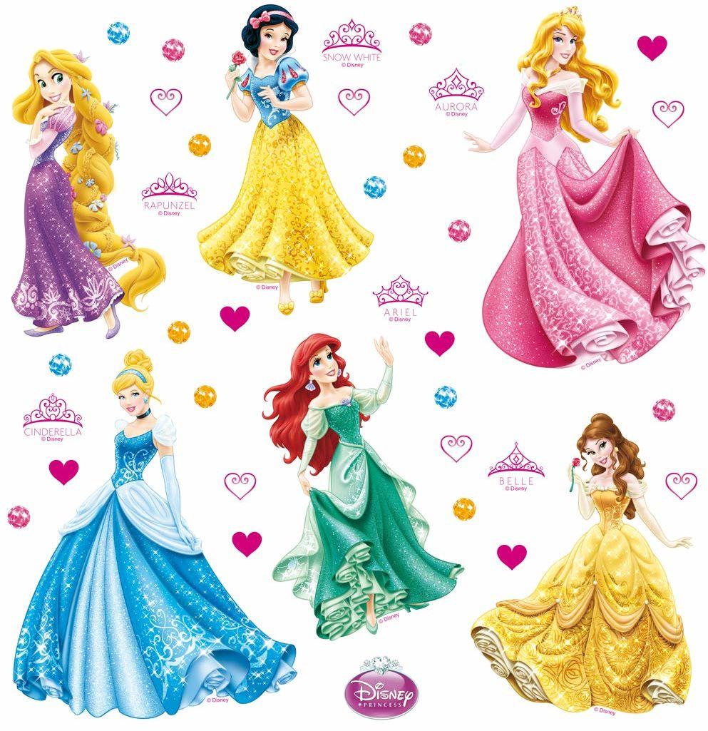 Ag Design Księżniczki Disneya Naklejka Ścienna, Folia PVC, Wielokolorowy, 30 x 30 cm, 1 Arkusz