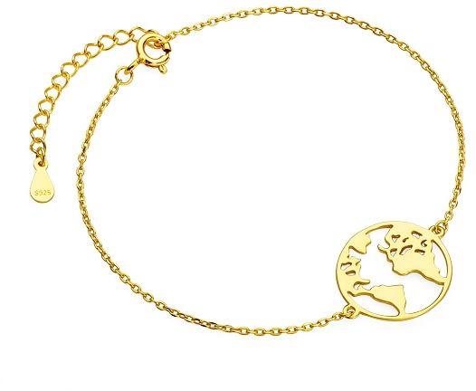 Elegancka pozłacana srebrna bransoleta celebrytka mapa świata srebro 925 Z1726BG