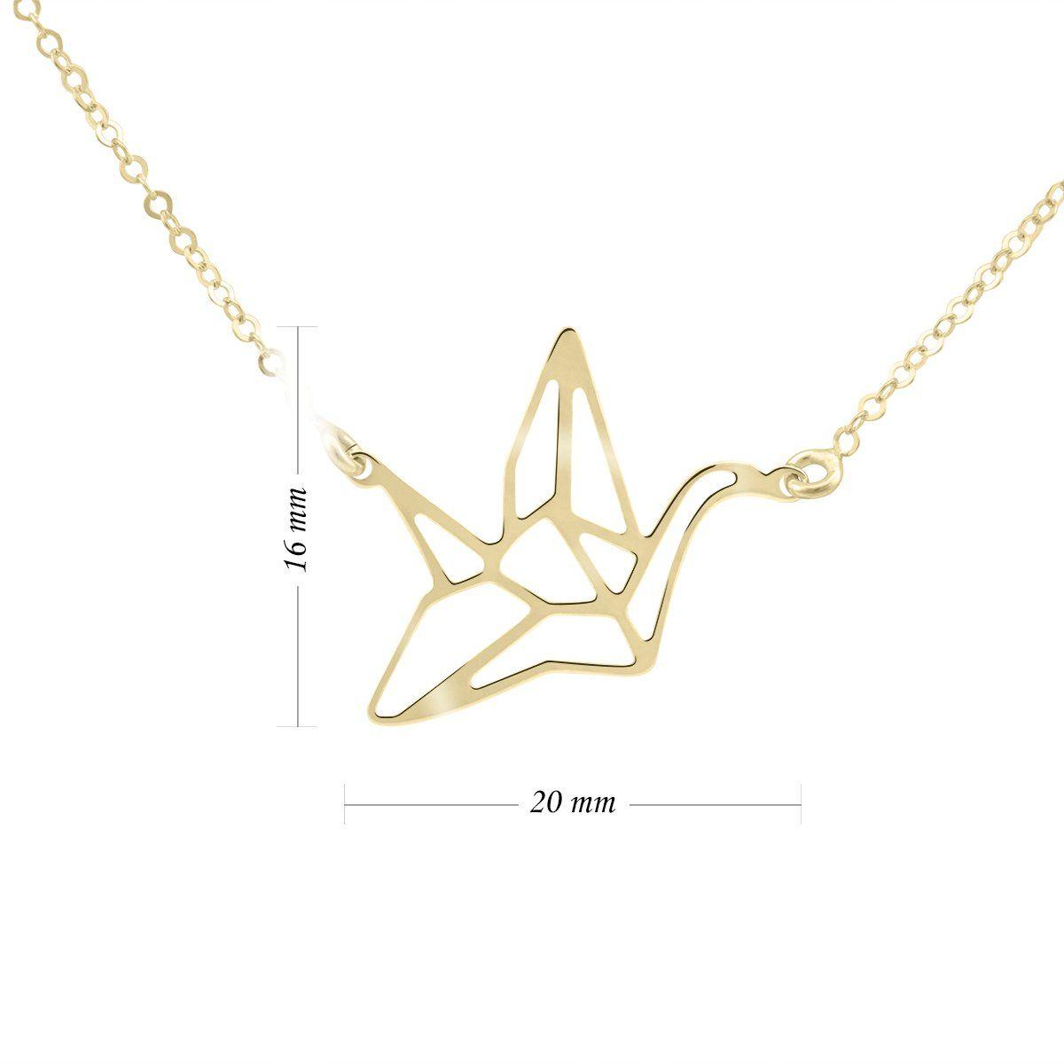 Złoty Naszyjnik Origami Ptak pr. 333