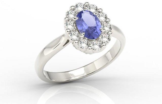 Pierścionek zaręczynowy z tanzanitem i diamentami bp-57b