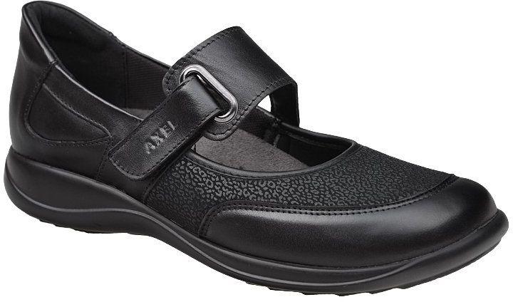 Półbuty na rzepy buty AXEL Comfort 1576 H Czarny + Stretch na Haluksy