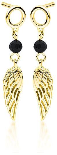 Delikatne pozłacane srebrne wiszące kolczyki celebrytka skrzydła skrzydełka wings cyrkonie srebro 925 Z1708EG_B