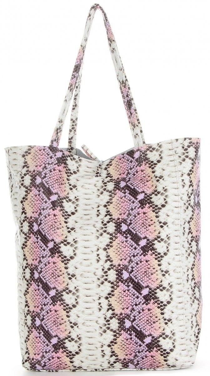 Vittoria Gotti Firmowe Torebki Skórzane Włoski Shopper XL w modny wzór węża Różowa (kolory)
