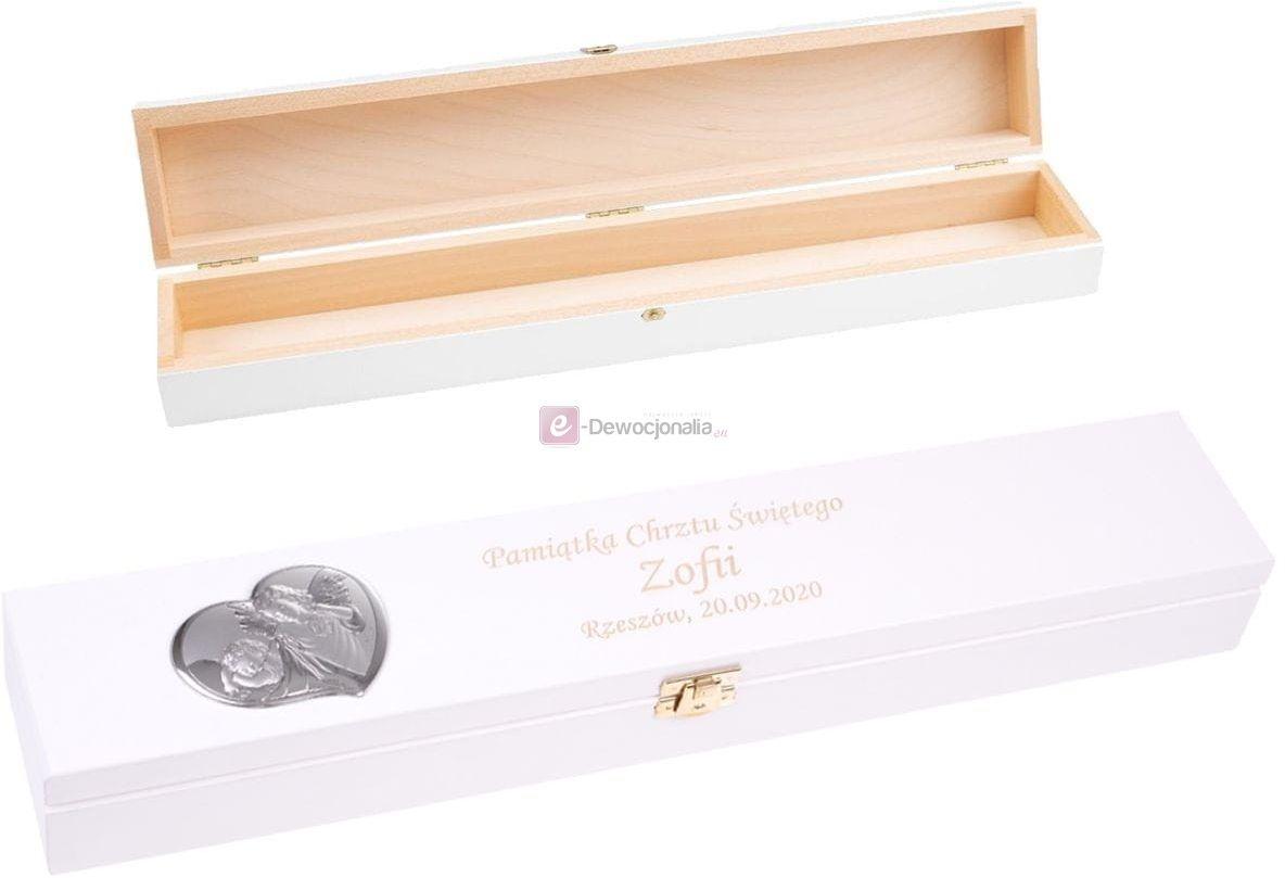 Drewniane pudełko na świecę z grawerem BIAŁE - z srebrnym emblematem