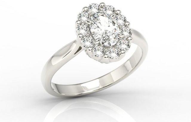 Pierścionek zaręczynowy z białym topazem swarovski i diamentami bp-57b