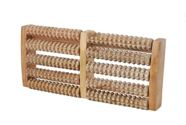 Podwójny masażer do stóp - drewniany roller z wypustkami do akupresury (foot_massx2)