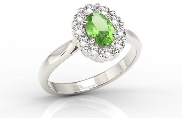 Pierścionek zaręczynowy z oliwinem i diamentami bp-57b