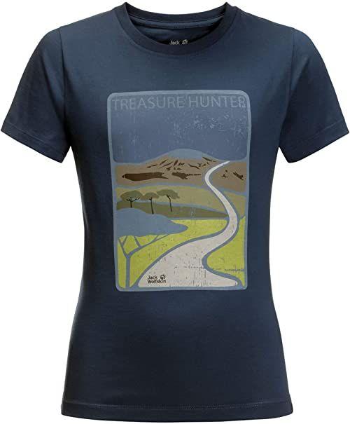 Jack Wolfskin Unisex Kinder Treasure Hunter T-shirt dziecięcy niebieski Dark Indigo 128