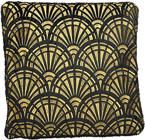 Ozdobna poduszka z wypełnieniem - aksamit - czarna - 45 x 45 cm