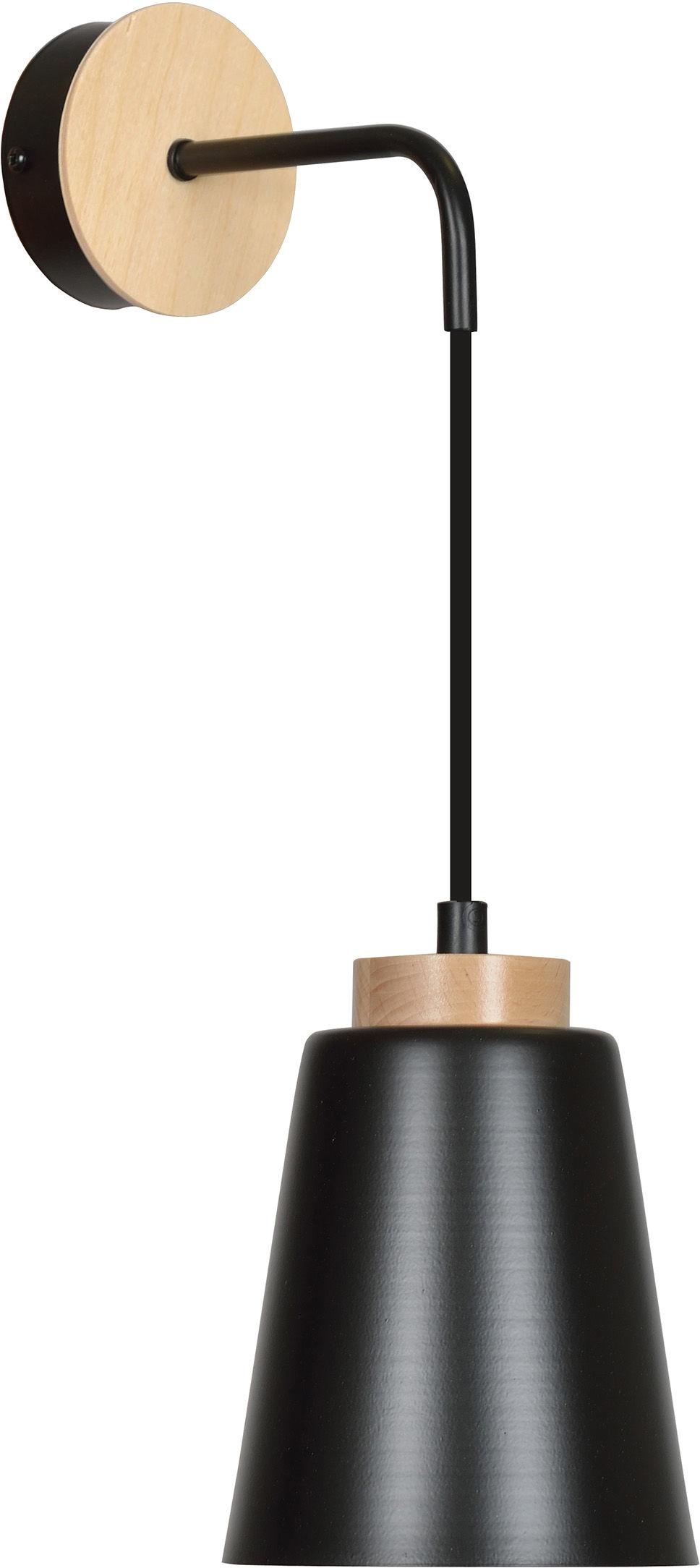 Emibig BOLERO K1 BLACK 442/K1 kinkiet lampa ścienna styl skandynawski drewno czarny 1x60W E27 14cm