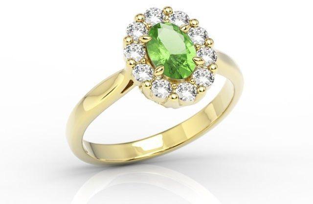 Pierścionek zaręczynowy z oliwinem i diamentami bp-57z