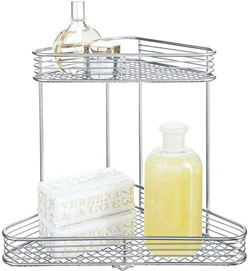iDesign Vienna regał narożny, praktyczny kosz z metalu z dwoma półkami do przechowywania kosmetyków lub na butelki z szamponem, kolor srebrny