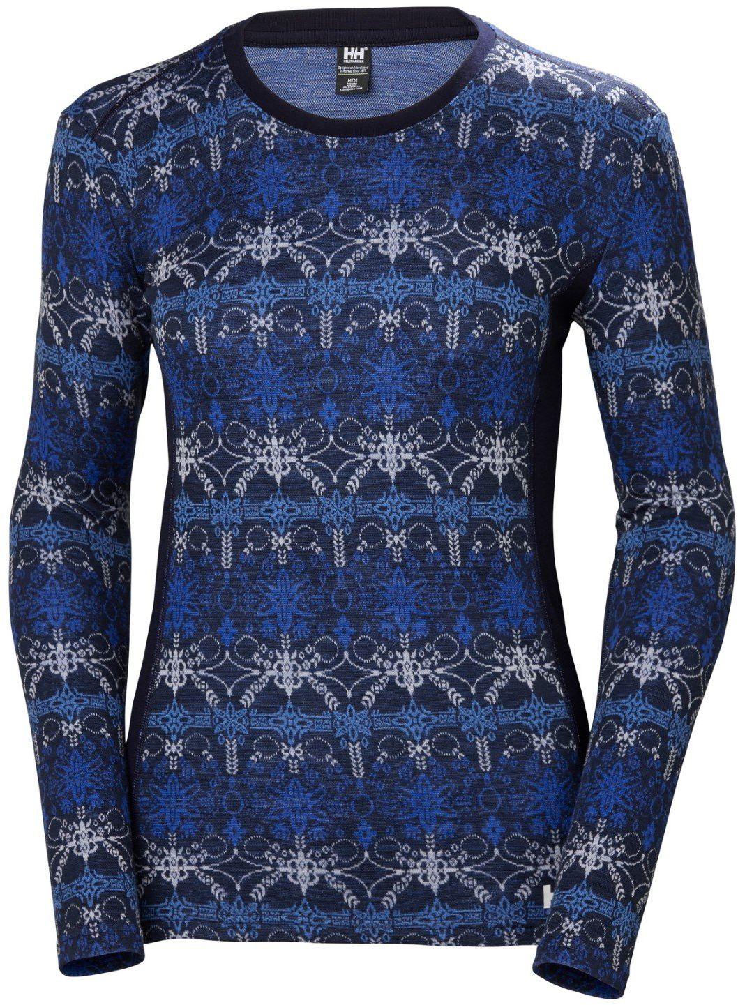 Hellyhansen damska bluza z nadrukiem Merino Mid Navy/Frost, XL