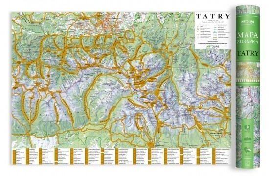 Mapa zdrapka - Tatry 1:50 000 ZAKŁADKA DO KSIĄŻEK GRATIS DO KAŻDEGO ZAMÓWIENIA