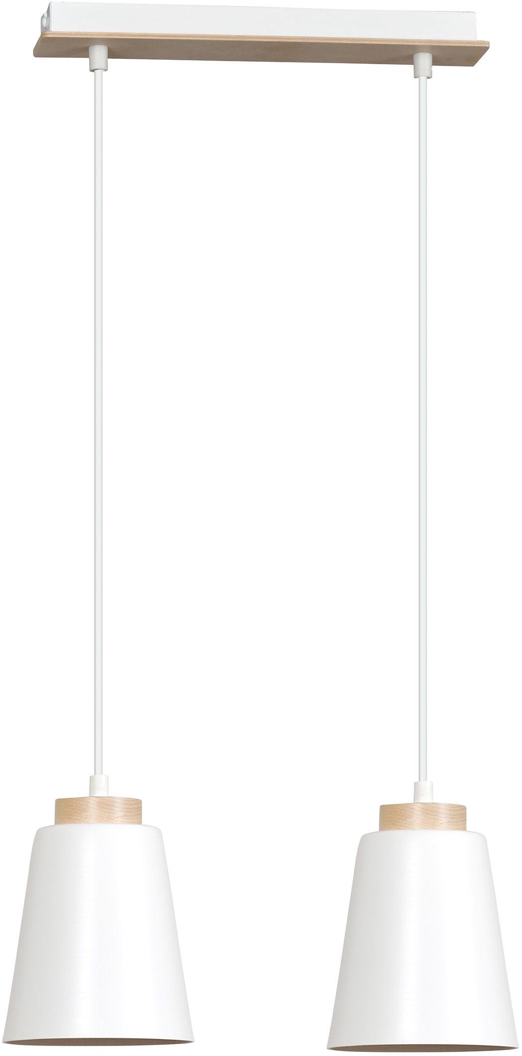 Emibig BOLERO 2 WHITE 443/2 lampa wisząca podwójna styl skandynawski drewno biała 2x60W E27 40cm