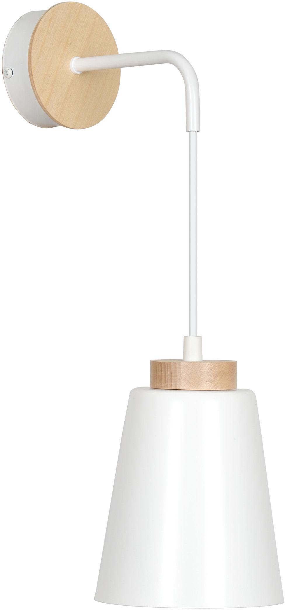 Emibig BOLERO K1 WHITE 443/K1 kinkiet lampa ścienna styl skandynawski drewno biały 1x60W E27 14cm