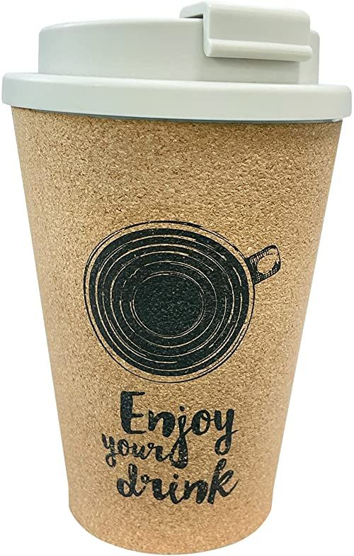 Procos 92192 92192 kubek wielokrotnego użytku z pokrywką, pojemność 300 ml, korek, wielokrotnego użytku, kubek na kawę, brązowo-biały
