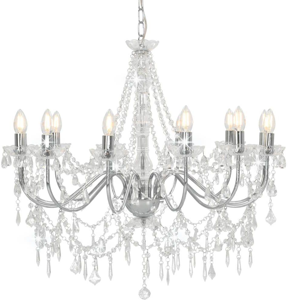 Srebrny świecznikowy żyrandol kryształowy - EX99-Antos