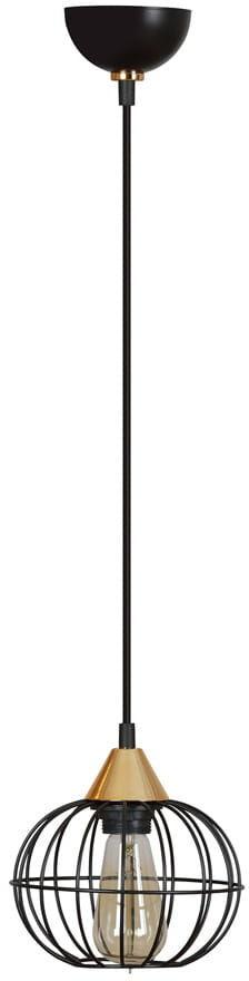 Emibig LATARNIA 1 BLACK 375/1 lampa wisząca metal czarny druciak miedziane elementy regulowana wysokość 1x60W E27 18cm