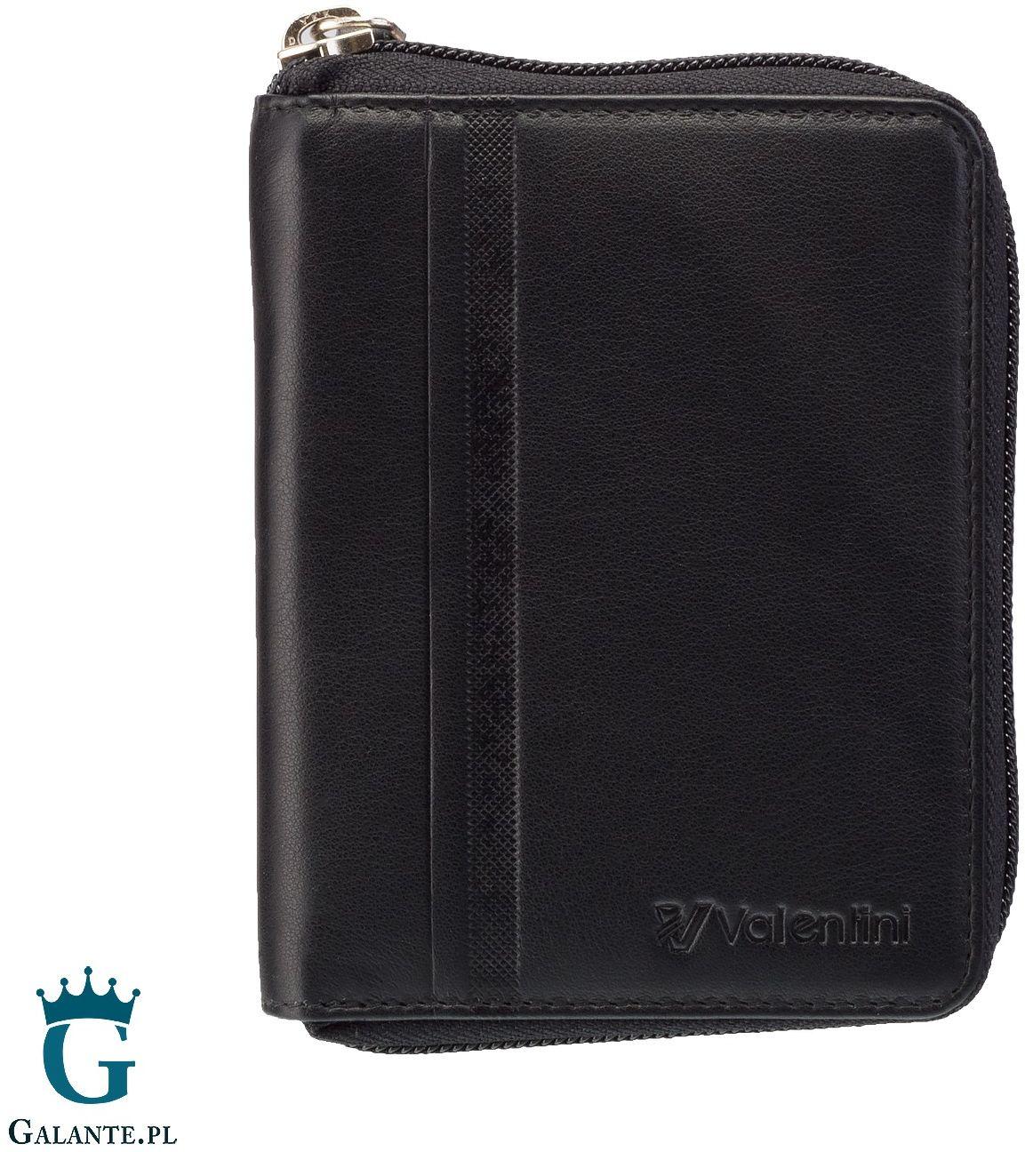 Czarny portfel valentini trophy na zamek 15v-833 rfid