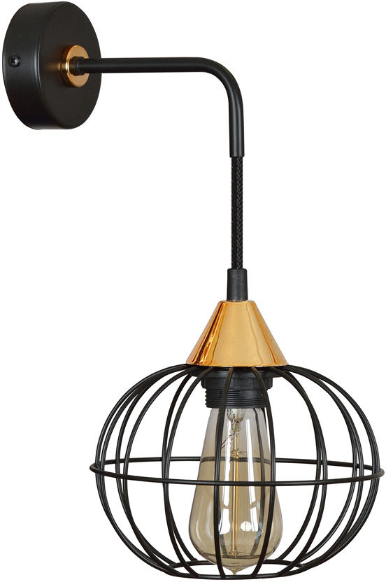 Emibig LATARNIA K1 BLACK 375/K1 kinkiet lampa ścienna industrialny miedziane elementy regulowana wysokość czarny 1x60W E27 25cm