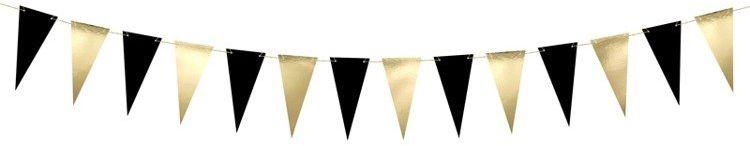 Girlanda Flagi złote i czarne 2,15m FLG12