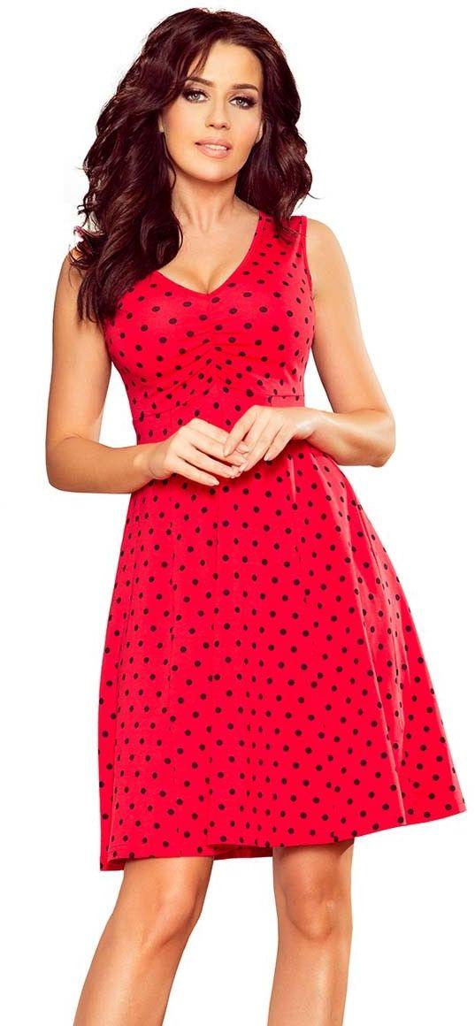Czerwona rozkloszowana sukienka bez rękawów z dekoltem v