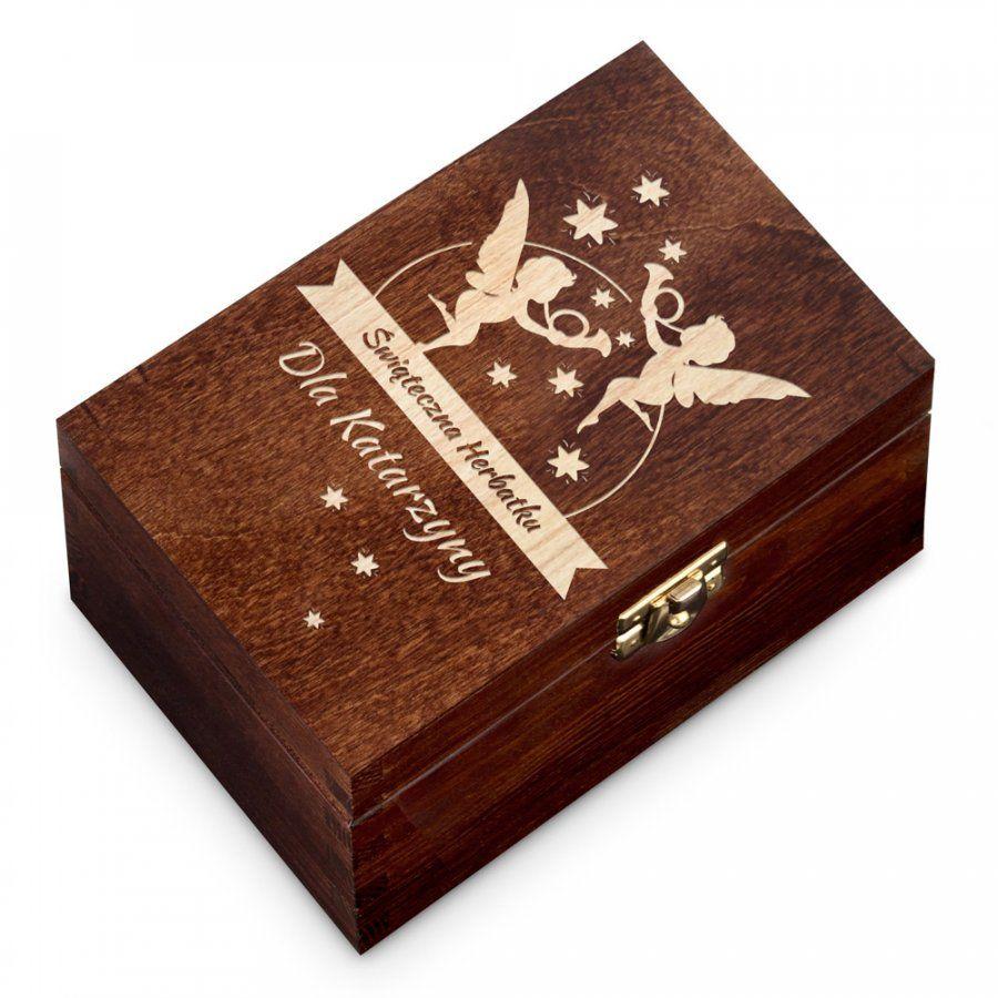 Herbata w Grawerowanej Skrzynce Na Święta Aniołki