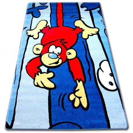 Dywan dziecięcy HAPPY C176 niebieski Małpa 120x170 cm