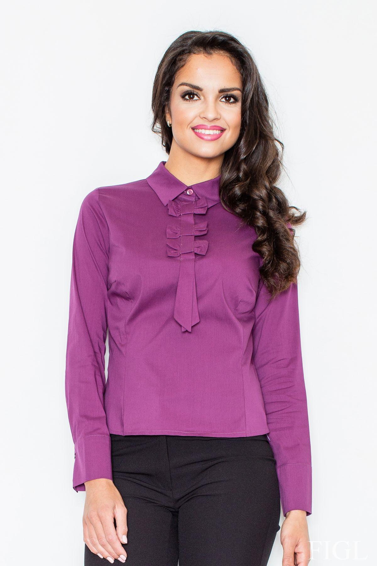 Elegancka bluzka z krawatem w kolorze bakłażanu