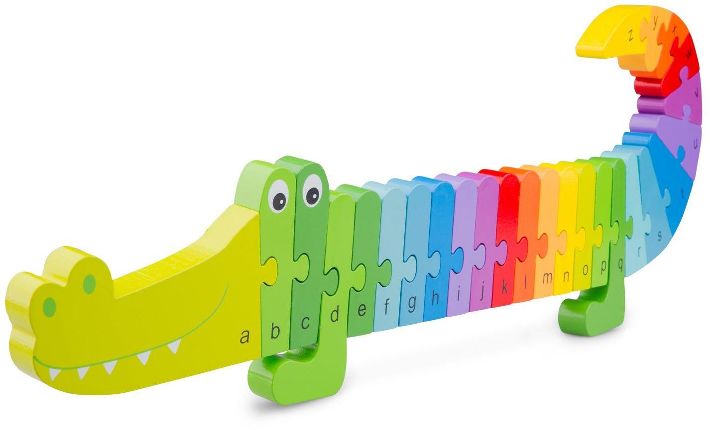New Classic Toys Alfabet puzzle krokodyl edukacyjne drewniane zabawki dla 3-letniego chłopca i dziewczynki małe dzieci uczą się alfabetu