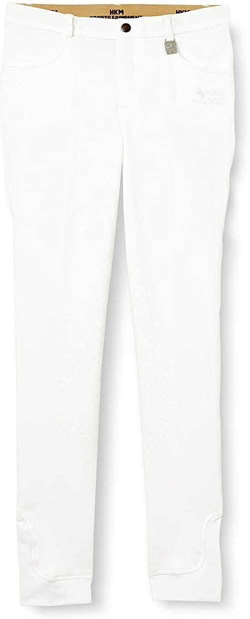 HKM Unisex spodnie jeździeckie -Kids Additional Easy - silikonowe obszycie kolan 1200 beżowy 1200 Weiß 146