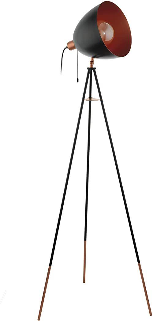 EGLO trójnożna lampa stojąca Chester, 1-punktowa lampa podłogowa vintage, lampa stojąca wykonana ze stali, kolor: czarny, miedź, gniazdo: E27, w zestawie przełącznik sznurkowy