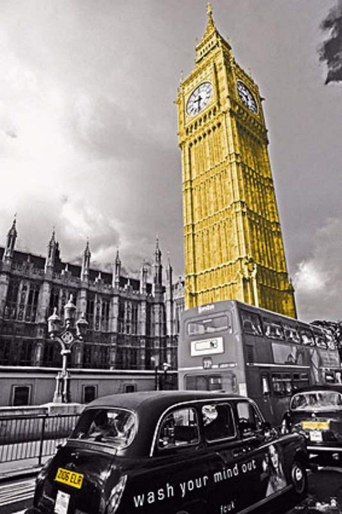 empireposter London Big Ben England zabytki plakat druk 61x91,5 cm, papier, kolorowy, 91,5 x 61 x 0,14 cm