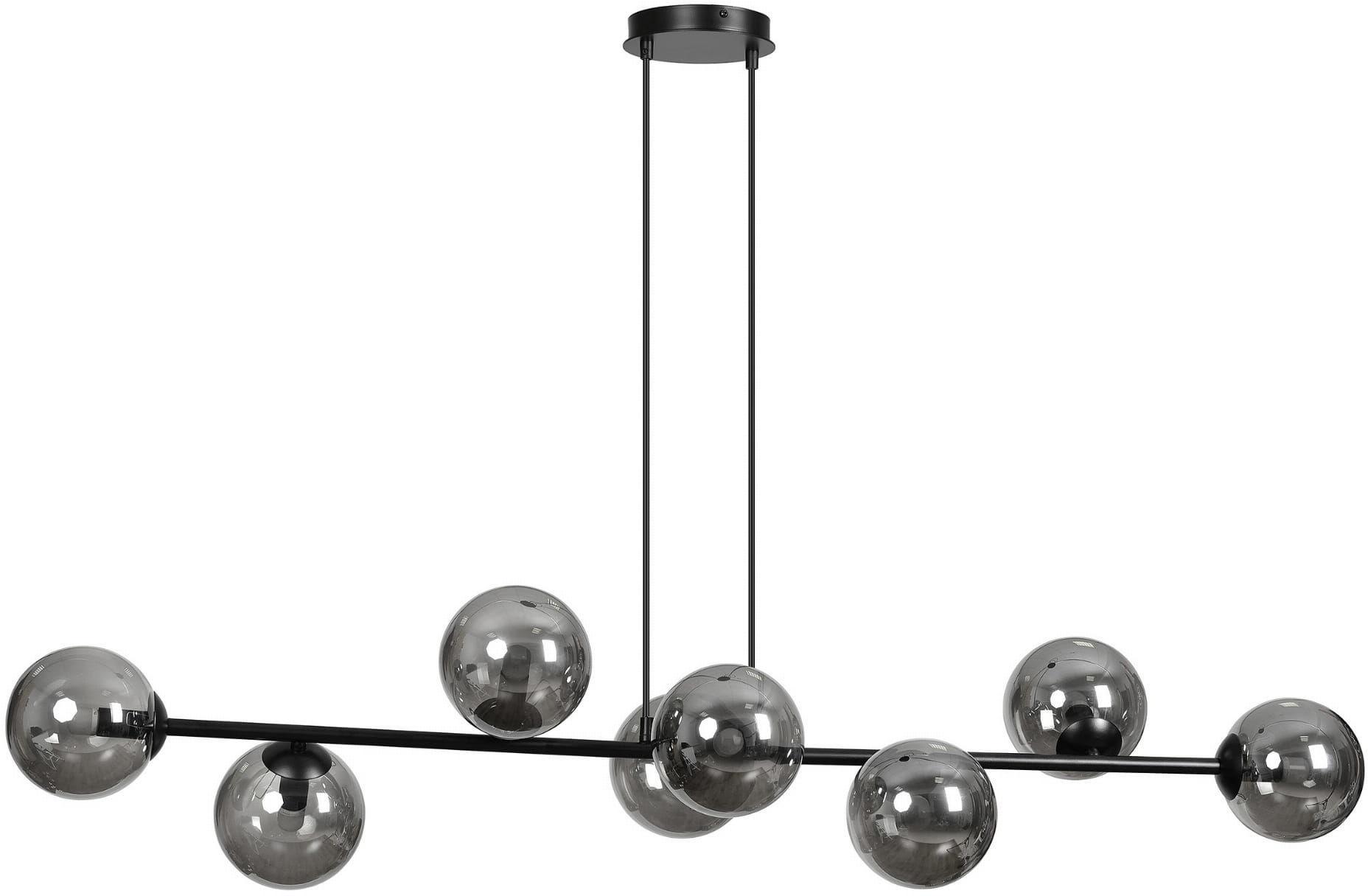 Emibig ROSSI 8 BL/GRAFIT 875/8 lampa wisząca nowoczesna metal czarna szklane klosze 8x40W E14 130cm