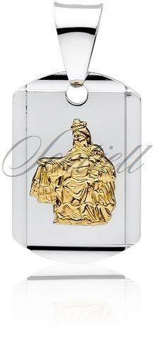 Srebrny medalik jezus / matka boska szkaplerzna pozłacana