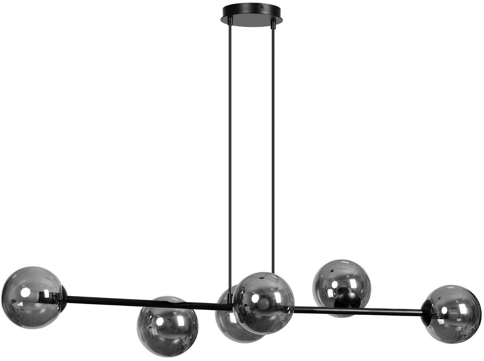 Emibig ROSSI 6 BL/GRAFIT 875/6 lampa wisząca nowoczesna metal czarna szklane klosze 6x40W E14 110cm