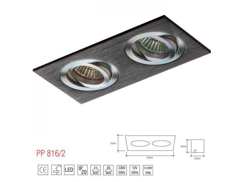 LM 816/2 OPRAWA HALOGENOWA LED WPUSZCZANA OCZKO REGULOWANA ALUMINIUM CZARNY MR11 GU10 GU5,3