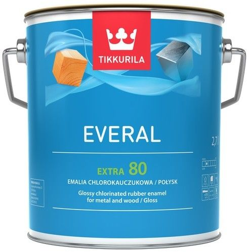 TIKKURILA EVERAL EXTRA 80- emalia chlorokauczukowa, baza A, 2.7 l